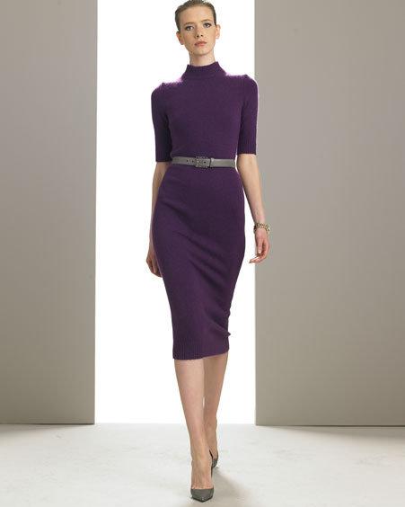 Michael Kors Cashmere Mock-Neck Sheath Dress