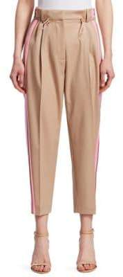 Peter Pilotto Satin-Trimmed Cropped Wool Trousers
