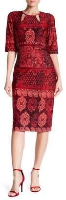 Chetta B Cutout Print Midi Dress