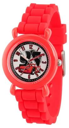 Cars Boys' Disney Lightning McQueen Red Plastic Time Teacher Watch, Red Silicone Strap, WDS000149