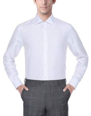 Verno Fashion Mens 100% Micro Fiber Print Slim Fit Long Sleeve White Dress Shirt