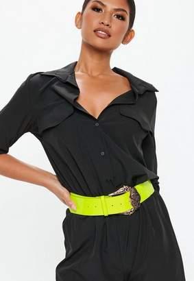 Missguided Neon Green Plastic Western Belt