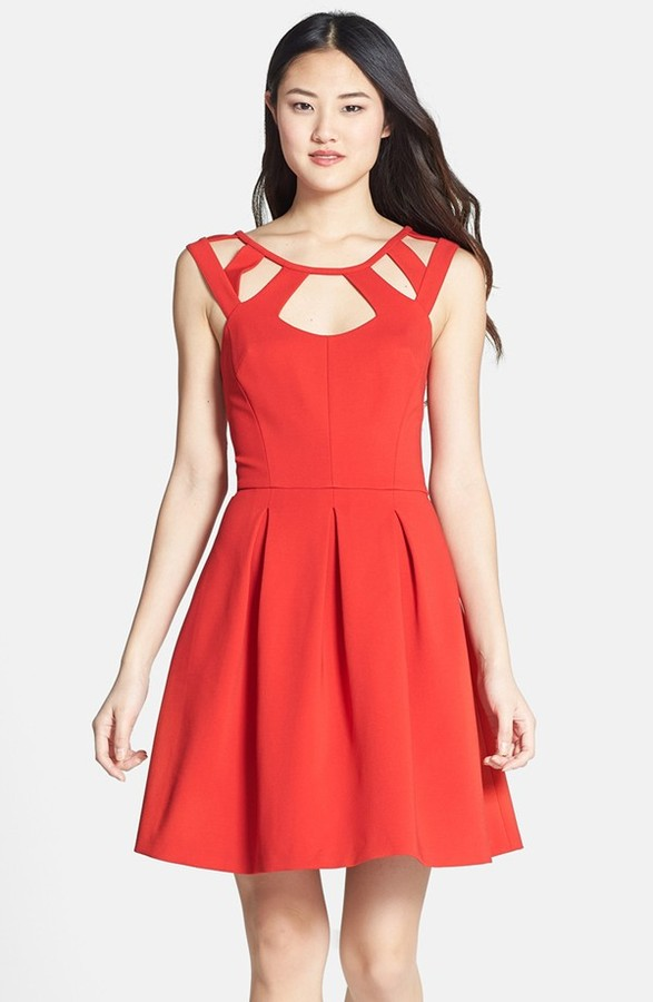 Betsey Johnson Cutout Fit & Flare Dress