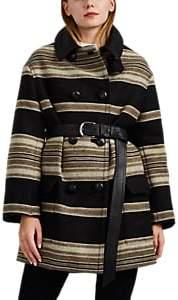 Isabel Marant Women's Hilda Leather-Trimmed Wool-Blend Belted Jacket