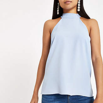 River Island Petite light blue satin tie halter neck top