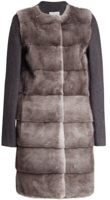 Yves Salomon Mink Fur Coat with Wool and Cashmere Sleeves