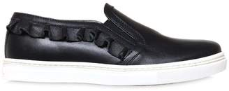 Il Gufo Ruffle Nappa Leather Slip-On Sneakers