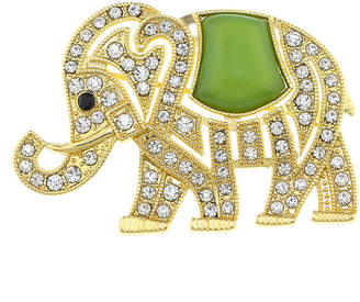 MONET JEWELRY Monet Crystal and Green Stone Elephant Pin