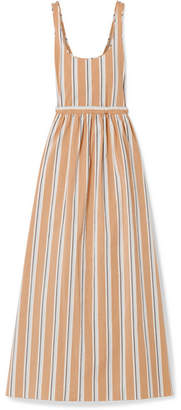 Brock Collection Oriana Striped Stretch-cotton Poplin Maxi Dress - Beige