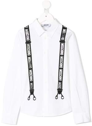 Moschino Kids TEEN suspenders print shirt