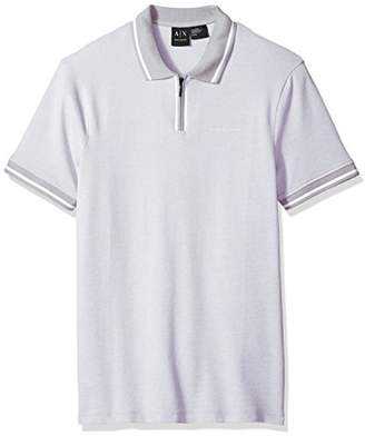 Armani Exchange A|X Men's Pique Short Sleeve Front Zip Polo Shirt