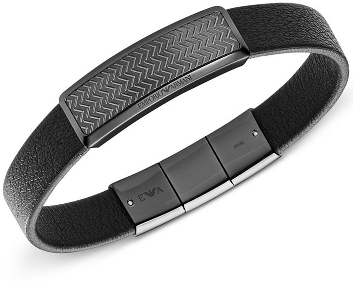 Armani Exchange Armani Exchange Men's Gunmetal Steel Leather Bracelet EGS2253