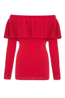 Quiz Red Knit Ruffle Detail Bardot Jumper