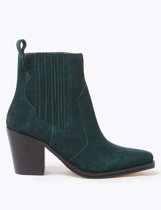 Marks and Spencer Suede Western Ankle Boots