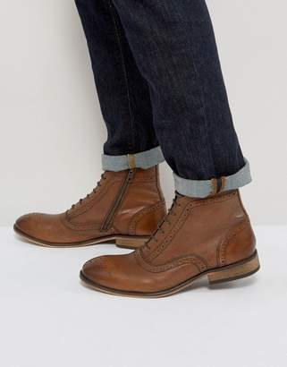 Asos Lace Up Brogue Boots In Tan Leather With Zips