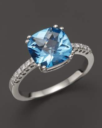 Bloomingdale's Blue Topaz Cushion Ring with Diamonds in 14K White Gold - 100% Exclusive