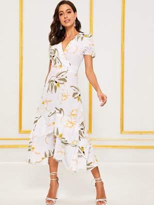 b9d6b37f42 Shein Floral Print Button Trim Bishop Sleeve Long Dress