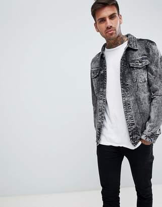 Pull&Bear denim jacket in acid wash black