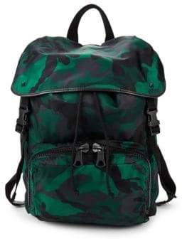 Valentino Camouflage Flap-Top Backpack