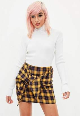 Missguided Yellow Plaid Tie Front Mini Skirt