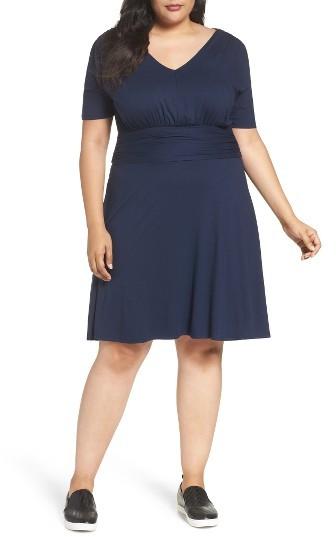 Three DotsPlus Size Women's Three Dots Shirred A-Line Dress
