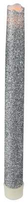 """CC Christmas Decor 9"""" Battery Operated Silver Glittered LED Flameless Christmas Taper Candle"""