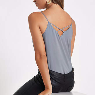 River Island Grey cross back strap cami top