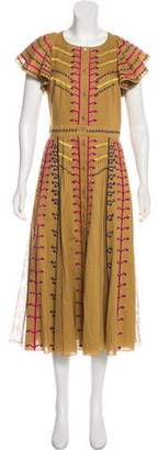 Temperley London Embroidered Midi Dress w/ Tags