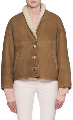 Etoile Isabel Marant Alexandre Button-Front Short Shearling Jacket