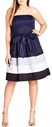 City Chic Block Stripe Sleeveless Fit & Flare Dress