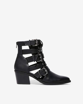 Express Cut-Out Buckle Strap Ankle Booties