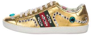 Gucci Metallic Crystal Ace Sneakers