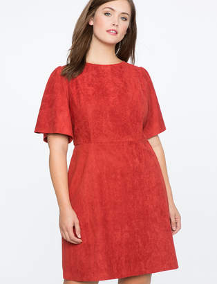 ELOQUII Faux Suede Flare Sleeve Dress