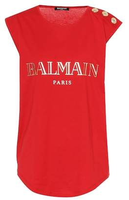 Balmain Buttoned cotton logo T-shirt