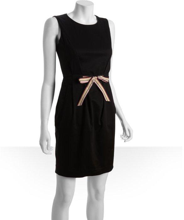 Calvin Klein black stretch cotton sleeveless bow waist dress