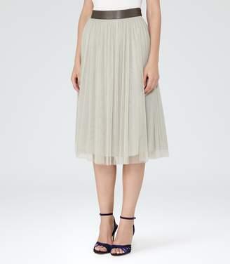 Reiss Crystal - Tulle Midi Skirt in Stone