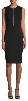 Calvin Klein Sleeveless Circle-Zip-Pull Sheath Dress