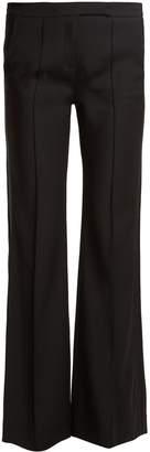 Amanda Wakeley Mid-rise flared crepe trousers