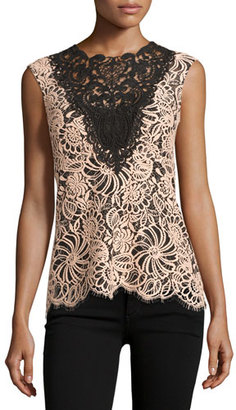 Nanette Lepore Sleeveless Colorblock Lace Top, Desert Rose $298 thestylecure.com