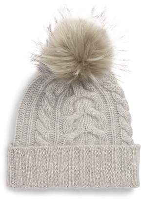 9b758364942 Halogen Cashmere Cable Knit Beanie with Faux Fur Pom