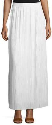 Joan Vass Petite Long Pleated Skirt, White