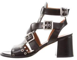 Derek Lam Leather Grommet-Accented Sandals