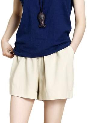 WSLCN Womens Bermuda Shorts Casual Cotton Linen Summer Holiday Short Pants Elastic Drawstring