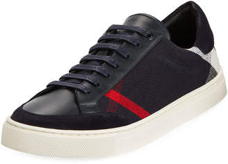 Burberry Men's Reynold Check & Leather Sneakers, Navy