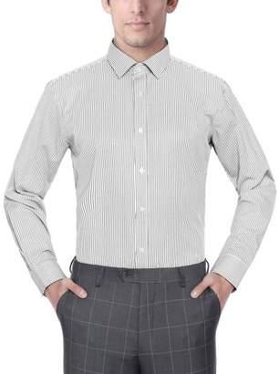 Verno Men's Fashion Classic Fit Striped Long Sleeve Dress Shirt