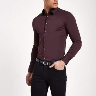 River Island Dark purple long sleeve muscle fit shirt