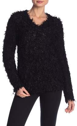 Milly Fuzzy Knit V-Neck Sweater