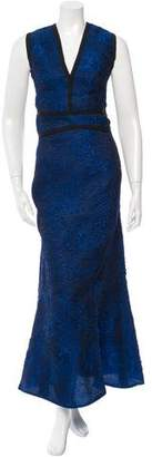 J. Mendel Jacquard V-Neck Gown