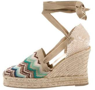 Missoni Knit-Accented Lace-Up Wedges