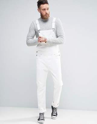 ASOS Denim Overalls In White $67 thestylecure.com